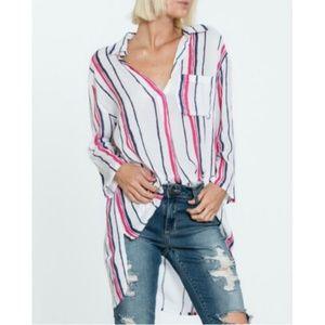 En Creme Swim - Stripe Shirt Dress Cover Up